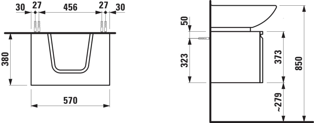 Waschtischunterbau, 1 Schublade und 1 Glasfachboden, mit